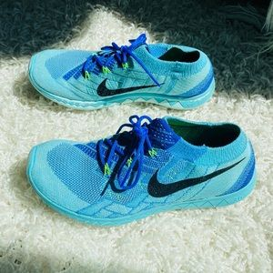 Nike Free 3.0 Flyknit Sneaker Blue Running Shoes 7